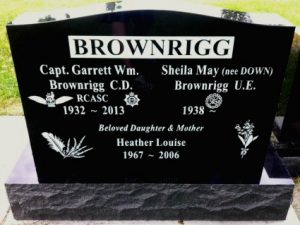 Upright Double - Black Granite | H.W. Wallace Cremation & Burial Centre